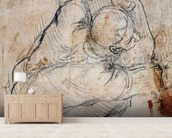 Study for the Last Judgement (black chalk on paper) (recto) (for verso see 191772) mural wallpaper living room preview