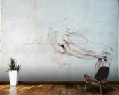 Study of a Leg with Notes (brown ink on paper) (recto) wallpaper mural kitchen preview