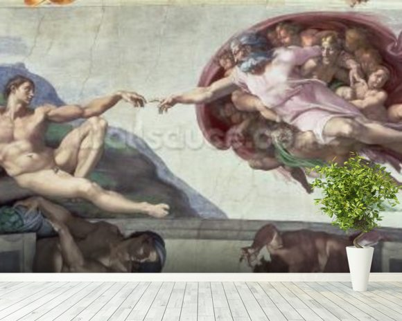 Sistine Chapel Ceiling (1508-12): The Creation of Adam mural wallpaper room setting