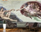 Sistine Chapel Ceiling (1508-12): The Creation of Adam mural wallpaper kitchen preview