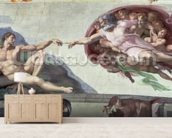 Sistine Chapel Ceiling (1508-12): The Creation of Adam mural wallpaper living room preview