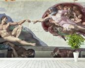 Sistine Chapel Ceiling (1508-12): The Creation of Adam mural wallpaper in-room view