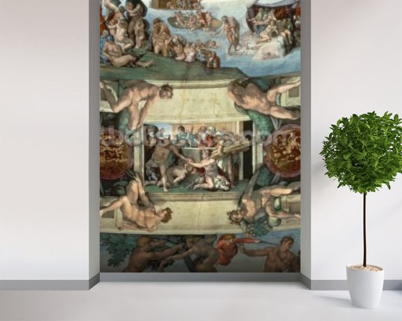 Sistine Chapel Ceiling (1508-12): The Sacrifice of Noah, 1508-10 (fresco) wall mural room setting