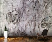 Various studies, verso of Study for David (pen & ink on paper) wallpaper mural kitchen preview