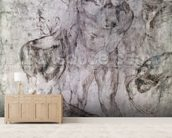 Various studies, verso of Study for David (pen & ink on paper) wallpaper mural living room preview
