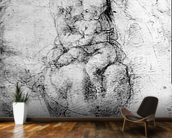 Virgin and Child (pencil on paper) (b/w photo) mural wallpaper kitchen preview