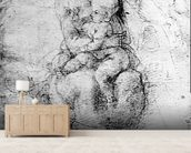 Virgin and Child (pencil on paper) (b/w photo) mural wallpaper living room preview