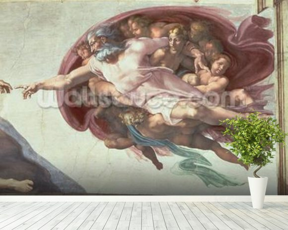 Sistine Chapel Ceiling: The Creation of Adam, detail of God the Father, 1508-12 (fresco) (post restoration) wallpaper mural room setting