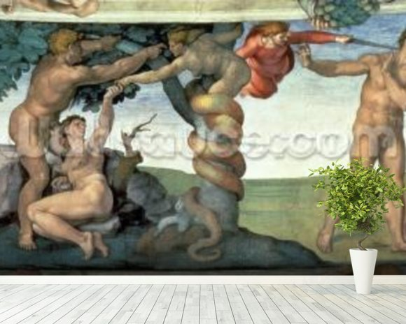 Sistine Chapel Ceiling (1508-12): The Fall of Man, 1510 (fresco) (post restoration) mural wallpaper room setting