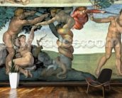 Sistine Chapel Ceiling (1508-12): The Fall of Man, 1510 (fresco) (post restoration) mural wallpaper kitchen preview