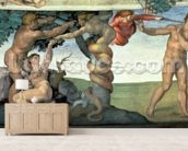 Sistine Chapel Ceiling (1508-12): The Fall of Man, 1510 (fresco) (post restoration) mural wallpaper living room preview