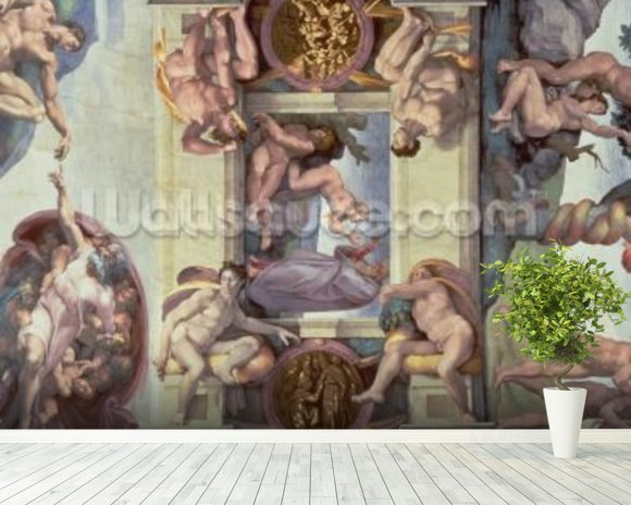 Sistine Chapel Ceiling (1508-12): The Creation of Eve, 1510 (fresco) (post restoration) wallpaper mural room setting