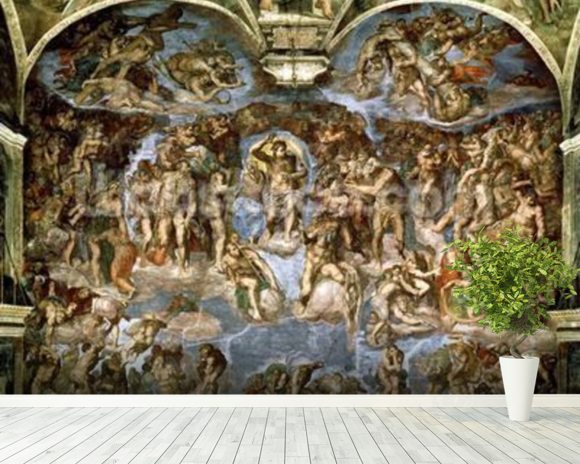 Sistine Chapel: The Last Judgement, 1538-41 (fresco) (pre-restoration) wallpaper mural room setting