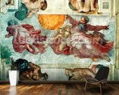 Sistine Chapel Ceiling: Creation of the Sun and Moon, 1508-12 (fresco) mural wallpaper kitchen preview