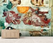 Sistine Chapel Ceiling: Creation of the Sun and Moon, 1508-12 (fresco) mural wallpaper living room preview