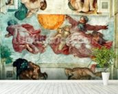 Sistine Chapel Ceiling: Creation of the Sun and Moon, 1508-12 (fresco) mural wallpaper in-room view