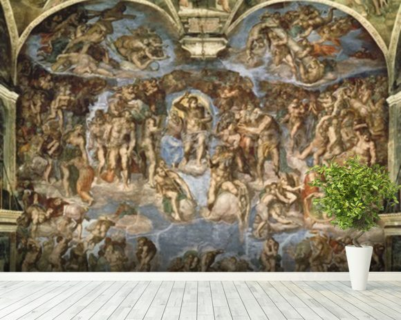 Last Judgement, from the Sistine Chapel, 1538-41 (fresco) wall mural room setting