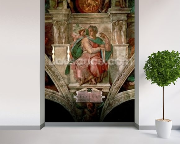 Sistine Chapel Ceiling: The Prophet Isaiah (fresco) wallpaper mural room setting