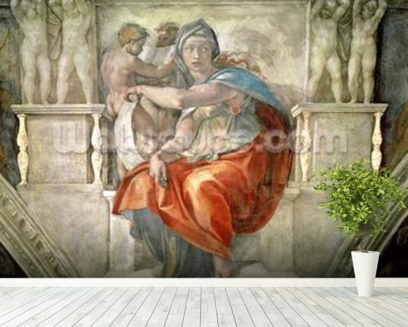 Sistine Chapel Ceiling: Delphic Sibyl (fresco) mural wallpaper room setting