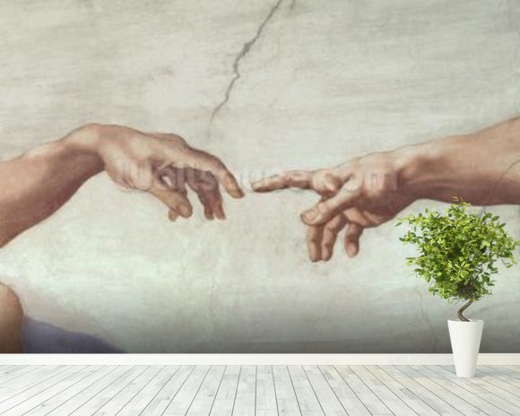 Hands of God and Adam, detail from The Creation of Adam, from the Sistine Ceiling, 1511 (fresco) (pre restoration) wall mural room setting