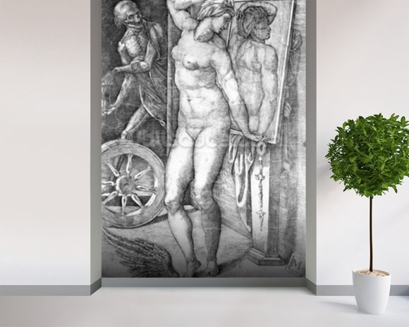 Nude looking at Herself in a Mirror, print made by Monogrammist M, c.1530-80 (engraving) wallpaper mural room setting