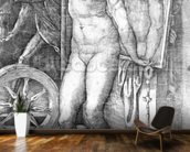 Nude looking at Herself in a Mirror, print made by Monogrammist M, c.1530-80 (engraving) wallpaper mural kitchen preview