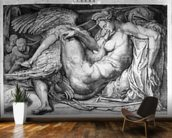 Leda, engraved by Jacobus Bos, Boss or Bossius (b.c.1520) (b/w photo) wall mural kitchen preview