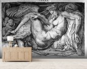 Leda, engraved by Jacobus Bos, Boss or Bossius (b.c.1520) (b/w photo) wall mural living room preview