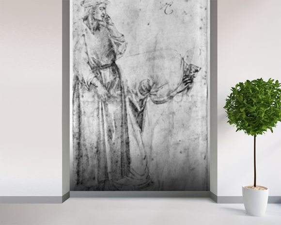 Two figures (pen & ink on paper) (b/w photo) wallpaper mural room setting