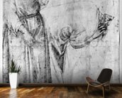 Two figures (pen & ink on paper) (b/w photo) wallpaper mural kitchen preview