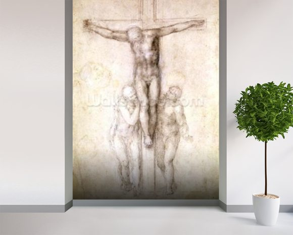 Study of Christ on the Cross between the Virgin and St. John the Evangelist (black chalk on paper) (recto) mural wallpaper room setting