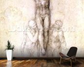 Study of Christ on the Cross between the Virgin and St. John the Evangelist (black chalk on paper) (recto) mural wallpaper kitchen preview