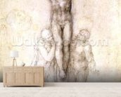 Study of Christ on the Cross between the Virgin and St. John the Evangelist (black chalk on paper) (recto) mural wallpaper living room preview
