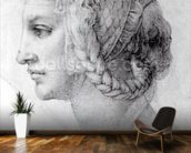 Ideal Head of a Woman, c.1525-28 (black chalk on paper) (b/w photo) wall mural kitchen preview