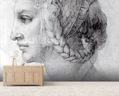 Ideal Head of a Woman, c.1525-28 (black chalk on paper) (b/w photo) wall mural living room preview