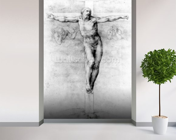 Christ on the Cross (chalk on paper) wallpaper mural room setting