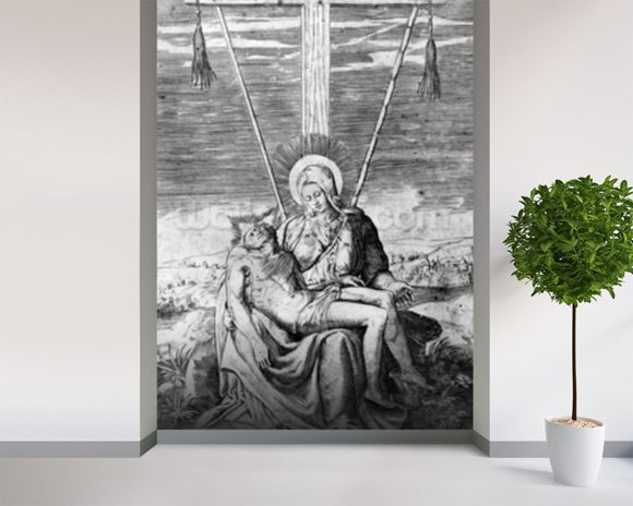 Pieta, engraved by Giulio Bonasone (engraving) mural wallpaper room setting
