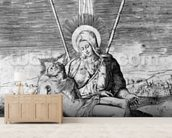 Pieta, engraved by Giulio Bonasone (engraving) mural wallpaper living room preview