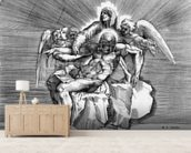Pieta, engraved by Giulio Sanuto (engraving) wallpaper mural living room preview