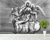 Pieta, engraved by Giulio Sanuto (engraving) wallpaper mural in-room view