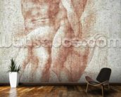 Nude female seated on the knees of a seated male nude: Adam and Eve (sanguine on paper) wall mural kitchen preview