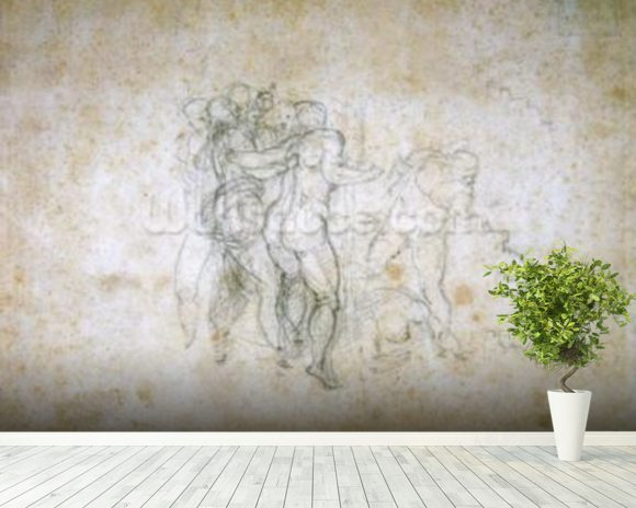 Study for the Last Judgement (graphite on paper) wallpaper mural room setting