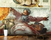 Sistine Chapel Ceiling: Creation of the Sun and Moon, 1508-12 (fresco) (detail of 183097) wall mural kitchen preview
