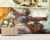 Sistine Chapel Ceiling: Creation of the Sun and Moon, 1508-12 (fresco) (detail of 183097) wall mural living room preview
