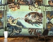Sistine Chapel Ceiling: Creation of Adam, 1510 (fresco) (post restoration) wallpaper mural kitchen preview