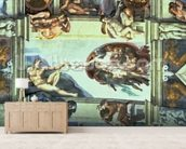 Sistine Chapel Ceiling: Creation of Adam, 1510 (fresco) (post restoration) wallpaper mural living room preview