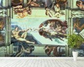 Sistine Chapel Ceiling: Creation of Adam, 1510 (fresco) (post restoration) wallpaper mural in-room view