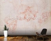 Studies of heads, 1508-12d(red chalk on paper) (verso) mural wallpaper kitchen preview