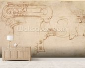 Study of an Ionic capital (red chalk on paper) (recto) mural wallpaper living room preview