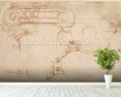 Study of an Ionic capital (red chalk on paper) (recto) mural wallpaper in-room view